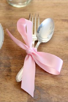 Wrap silverware in a simple ribbon for a vintage look.