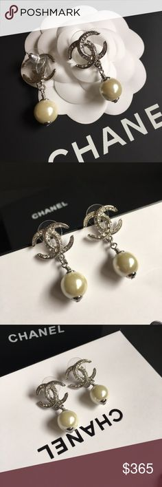 d792c99f4937 Crescent Moon Earrings By Chanel, beautiful crystals in silver crescent  moon stud earrings. Brand