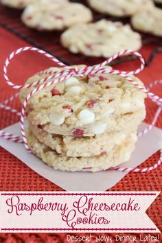 {Dessert Now, Dinner Later!} Raspberry Cheesecake Cookies - made with a raspberry muffin mix, these cookies could not be any easier!