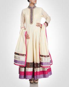Anarkali with multiple borders. Shop Now: www.kimaya.in