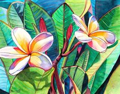 Watercolor Painting -  Plumeria Garden  by Marionette Taboniar♥♥