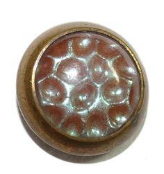 Antique Button Saphiret Glass Center Brass Waistcoat Small 13.5mm