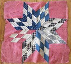 Nine Antique Large c1880 Blazing Star Quilt Blocks Indigo Blue Double Pink   eBay Vintageblessings