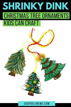 Easy DIY Christmas ornaments the kids can make for holiday inspired DIY Christmas decor this winter. These easy shrinky dink DIY Christmas ornaments are made using shrink plastic. They look great on the tree Diy Holiday Gifts, Holiday Crafts For Kids, Homemade Christmas Gifts, Diy Christmas Ornaments, Diy Crafts For Kids, Diy For Kids, Holiday Ideas, Christmas Ideas, Christmas Decorations
