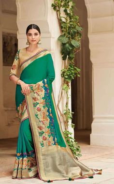 Buy online from the best party wear sarees collection to impress everyone. Visit our website to explore the range available in georgette, jacquard silk, art silk, dupion silk and more fabrics. Gold Silk Saree, Latest Saree Trends, South Silk Sarees, Party Wear Sarees Online, Indian Clothes Online, Saree Shopping, Saree Wedding, Wedding Bride, Wedding Dresses