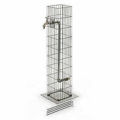 Steel wire gabions (Ø bars max. 4 mm) with zinc-aluminum coating; the base plate and water pipe are made of hot-dip galvanised steel; one brass spigot. Height cm, gabions 19 x. - Gabion Water Tap Column at Manufactum Gabion Fence, Gabion Wall, Water Tap, Water Pipes, Fence Design, Garden Design, Gabion Baskets, Tent Pegs, Garden Deco