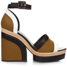 Pierre Hardy Charlotte leather and canvas platform sandals ($415) ❤ liked on Polyvore featuring shoes, sandals, heels, heeled sandals, platform shoes, multi color sandals, platform heel sandals and leather platform sandals