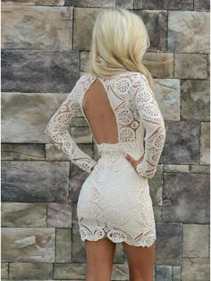 Sheath V-Neck Long Sleeves Open Back Short White Lace Homecoming Dress · Prettyqueenprom · Online Store Powered by Storenvy Homecoming Dresses Tight, Tight Dresses, Sexy Dresses, Short Dresses, Ladies Dresses, Lace Party Dresses, Lace Dress, Evening Dresses, White Dress