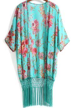 Shop Green Floral Tassel Loose Chiffon Kimono online. SheIn offers Green Floral Tassel Loose Chiffon Kimono & more to fit your fashionable needs.