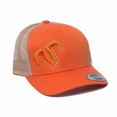 Rank Bull Icon Trucker Cap in Orange and Khaki Guys 22fa09ec96ad