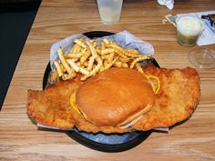 Bun is actual size. So is the fried pork tenderloin sandwich. Iowa style.