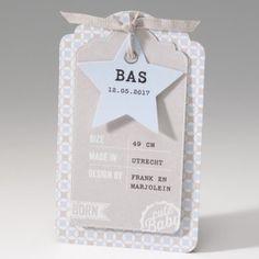 Belarto Baby Dreams -  geboortekaartje cute baby label lichtblauw