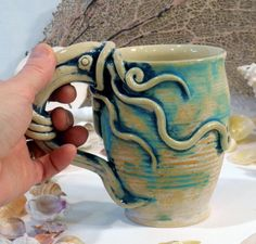 MUGS- Octopus Squid, SPECIAL Order- Set of 4 in Brushed Turquoise and Blue