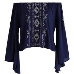 Chicwish Softly Boho Off-shoulder Top in Navy ($42) ❤ liked on Polyvore featuring tops, blue, navy off the shoulder top, bell sleeve tops, blue top, patterned tops and boho tops