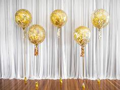 Gold Confetti Luxury Balloons for a Wedding #Gold #Luxury #Lux #Goldballoons #Confettiballoons #Confetti #Weddingideas #Adelaideweddings #Adelaideballoons #Classy #Elegant #Balloons #Wedding #Decor #Partydecor #Confettigoldballoons #PuffandPop
