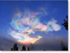 Beautiful polar stratospheric clouds forming around the Arctic Circle
