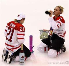 Canadian Humor: Our kind of celebrating - Not a fan of the bong myself, but I know a Canadian stereotype when I see one! I Am Canadian, Canadian Girls, Canadian Humour, Canadian Stereotypes, Meanwhile In Canada, Canada Eh, Hockey Girls, True North, Detroit Red Wings