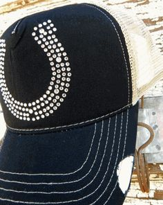 Horseshoe Cap-Black/Tan Trucker Style