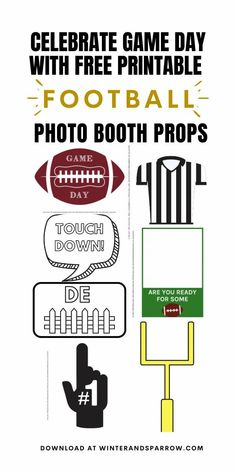 Are you ready for some football?! Celebrate all the game days you can with our free football photo booth props. Print, cut, stick, and done! #photoboothprops #freephotoboothprops #freefootballpartyprintables #freefootballpdf