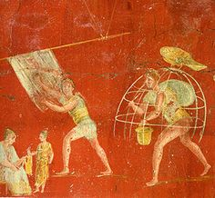 Mural painting from fullonica (cloth-launderer) VI 8, 20.21.2 at Pompeii, now in the National museum of Naples. Urine to wash clothes? The Ancient Romans used it! #AncientRome