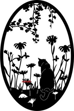 Garden Cat Silhouette Cross Stitch Chart now at www.crossstitchchartheaven.co.uk