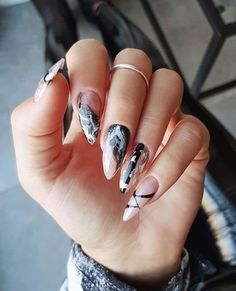 The Newest and Noble marble acrylic nails design ideas Try now Chic Nails, Stylish Nails, Love Nails, How To Do Nails, Pretty Nails, My Nails, Chic Nail Designs, Marble Nail Designs, Acrylic Nail Designs