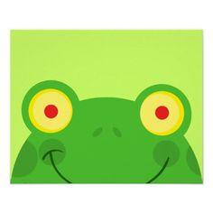 cute peeking cartoon frog froggy face print