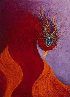"Phoenix. Mythical Creature. Fantasy Art.  ""En Fuego"" Greeting Card Original Oil painting by Karen Balon"