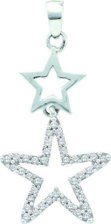 10KT White Gold 0.11CTW DIAMOND STAR PENDANT