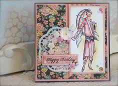 Synnøves Papirverksted: Elegant dame i rosa