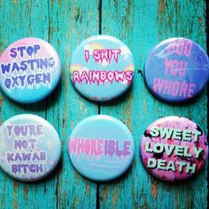 Pastel Goth Soft Grunge Kawaii Set Of 6 Buttons Plus 1 Free Button Gift With Purchase. Those are amazing------ I NEED these!