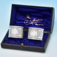 B7672p: Antique Sterling Silver Napkin Rings - William Hayes Hallmarked In 1898 Birmingham - Victorian - Image 1