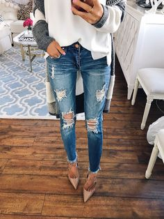 BP ripped crop skinny jeans