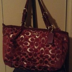 Authentic coach bag Like new condition the color is actually maroon and gold ( no trades, price was just dropped) Coach Bags Shoulder Bags