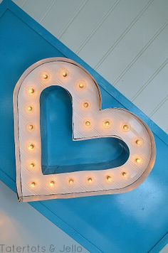 DIY Lighted Marquee Letter Heart Tutorial from Tatertots & Jello.