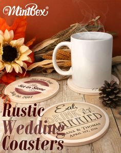 They are set in stone! Eat, Drink and Be Married Personalized Stone Coasters, great for wedding favors or gifts to the bridal party!