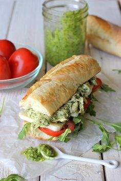 Chicken Pesto Sandwich (or panini) Chicken Pesto Sandwich, Pesto Chicken, Soup And Sandwich, Cooked Chicken, Salad Sandwich, Chicken Salad, I Love Food, Good Food, Yummy Food