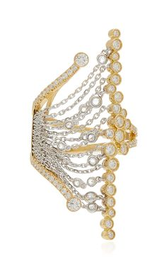 From his newest collection, **Mike Joseph** transforms gold and diamonds into innovative silhouettes with abstract designs embellished with diamond fringe. Gold Fashion, Fashion Jewelry, Bangle Ceremony, Joseph Fashion, Hand Jewelry, Jewellery, Technical Drawing, Diamond Cluster Ring, Jewelry Organization