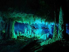 The Cascade Room, an underwater cave on Abaco Island, Bahamas. Photo by Wes C. Skiles. #caves