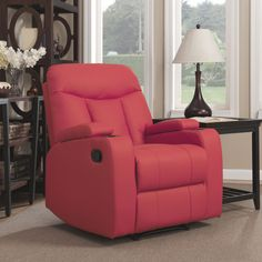 Sofa Table PORTFOLIO ProLounger Tuff Stuff Red Synthetic Leather Wall Hugger Storage Arm Recliner Red Plastic