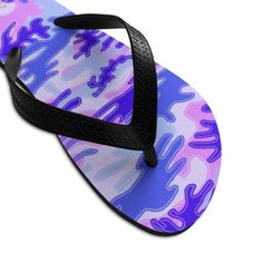 (1) Pink Purple Camouflage Camo Military Print Unisex Flip-Flops Sandals- Made in USA | Heidi Kimura Art LLC