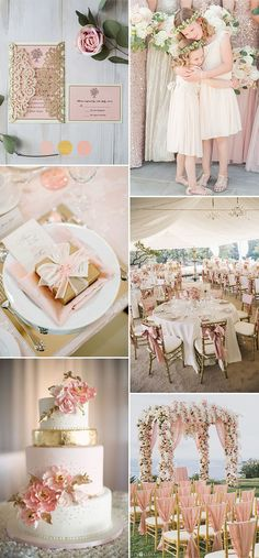 pink and gold classic and glamour wedding colors