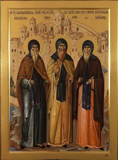 """Athanasius, Nicholas, and Anthony """"Vatopedi Founders"""" Russian Orthodox icon Byzantine Icons, Byzantine Art, Religious Icons, Religious Art, Faith Of Our Fathers, Paint Icon, Russian Icons, Best Icons, Russian Orthodox"""