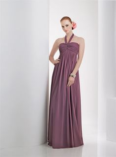 Ruched Chiffon bodice floor length with potrait halter, Maternity Styling available, Solid Only.