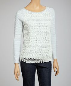 Look what I found on #zulily! Blue & Cream Lace Stripe Top by Mystree #zulilyfinds
