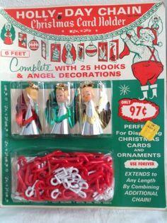 VINTAGE CHRISTMAS CARD HOLDER~PLASTIC CHAIN HOOKS FOIL ANGELS~KRESGE~NOS