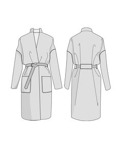 Buy the Riga Coat sewing pattern from Orageuse. Riga is an oversized, knee-length coat with patch pockets and a tie belt. Coat Pattern Sewing, Coat Patterns, Sewing Patterns, Sewing Coat, Skirt Patterns, Pattern Drafting, Dress Sewing, Blouse Patterns, Clothes Patterns