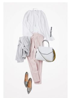 pink white silver - why not baby blue with silver Pink Fashion, Hijab Fashion, Fashion Outfits, Womens Fashion, Casual Hijab Outfit, Elegant Outfit, Office Fashion, Office Outfits, Comfortable Outfits