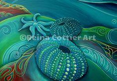 Kina & Starfish, NZ Seabed by Reina Cottier.
