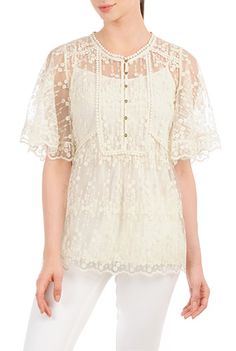 Plus Size Embroidered Mesh Bib Front Top (sizes 0 - 36W)